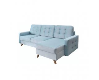 Rohová sedačka s rozkladom a úložným priestorom Medlin L/P - mentolová / orech