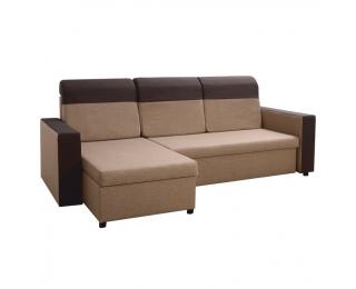 Rohová sedačka s rozkladom a úložným priestorom Tarik L/P - svetlohnedá / tmavohnedá