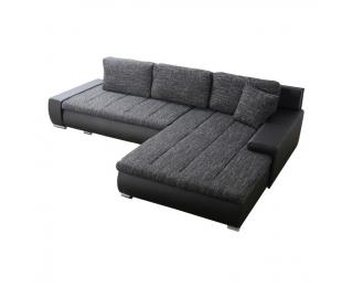 Rohová sedačka s rozkladom a úložným priestorom Toniks L/P - čierna