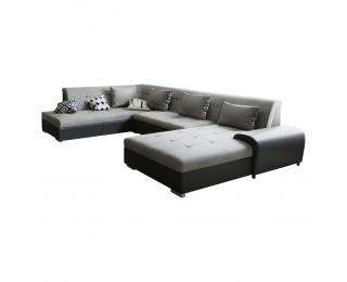 Rohová sedačka U s rozkladom Liberto U L - sivá / čierna