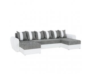 Rohová sedačka U s rozkladom Tiger U L/P - biela / sivá