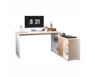 Rohový PC stolík Dalton 2 New L/P - biela / dub wotan