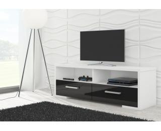 TV stolík Roma - biela / čierny lesk