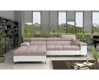 Rohová sedačka s rozkladom a úložným priestorom Rosino L - ružová / biela