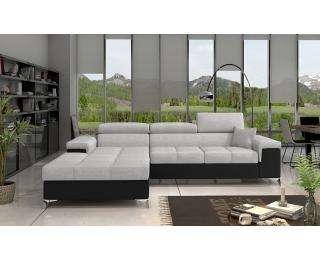 Rohová sedačka s rozkladom a úložným priestorom Rosino L - svetlosivá / čierna