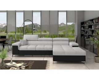 Rohová sedačka s rozkladom a úložným priestorom Rosino P - svetlosivá / čierna