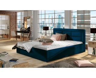 Čalúnená manželská posteľ s roštom Rovigo 160 - tmavomodrá