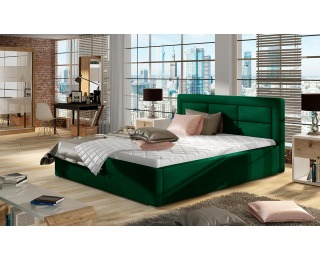 Čalúnená manželská posteľ s roštom Rovigo 200 - tmavozelená