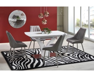 Rozkladací jedálenský stôl Palermo - biela / oceľ