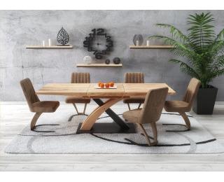 Rozkladací jedálenský stôl Sandor 3 - dub zlatý / čierna