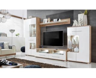 Obývacia stena s osvetlením Saala 3 - dub monument / biely lesk