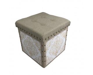 Skladacia taburetka s úložným priestorom Safia - béžová / biela