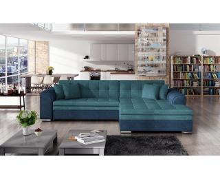 Rohová sedačka s rozkladom Salerno P - svetlomodrá / modrá