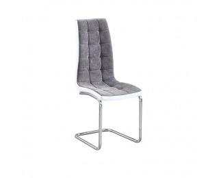 Jedálenská stolička Saloma New - svetlosivá / biela / chróm