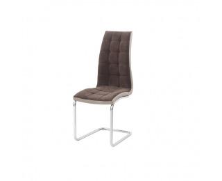 Jedálenská stolička Saloma New - hnedá / béžová / chróm