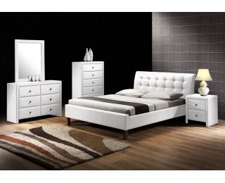 Čalúnená manželská posteľ s roštom Samara 160 - biela