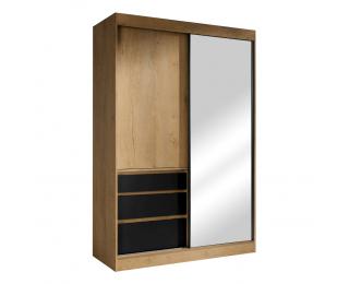 Šatníková skriňa s posuvnými dverami a zrkadlom Romualda 140 - dub lefkas / čierna