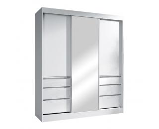Šatníková skriňa s posuvnými dverami a zrkadlom Romualda 180 - biela