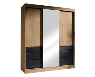 Šatníková skriňa s posuvnými dverami a zrkadlom Romualda 180 - dub lefkas / čierna