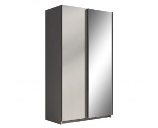 Šatníková skriňa s posuvnými dverami a zrkadlom Rozine 120 - sivá