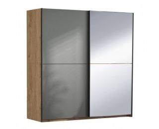 Šatníková skriňa s posuvnými dverami a zrkadlom Utah 2D - dub grandson zlatý / uni sivá