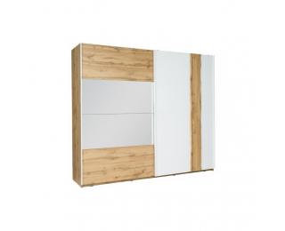 Šatníková skriňa s posuvnými dverami a zrkadlom Vodena 200 - dub wotan / biela