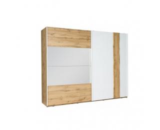 Šatníková skriňa s posuvnými dverami a zrkadlom Vodena 250 - dub wotan / biela