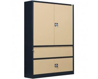 Kovová kancelárska skriňa s vystuženými dverami SB 1200 01 - antracit / béžová