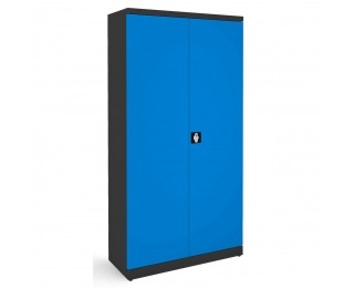 Kovová kancelárska skriňa s nastaviteľnými policami SB 1000 - grafit / modrá