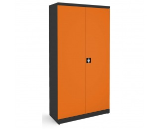 Kovová kancelárska skriňa s nastaviteľnými policami SB 1000 - grafit / oranžová