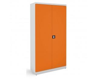 Kovová kancelárska skriňa s nastaviteľnými policami SB 1000 - svetlosivá / oranžová