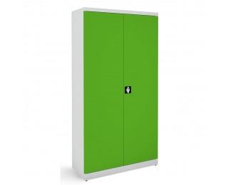 Kovová kancelárska skriňa s nastaviteľnými policami SB 1000 - svetlosivá / zelená