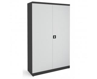 Kovová kancelárska skriňa s dvojkrídlovými dverami SB 1200 - grafit / svetlosivá