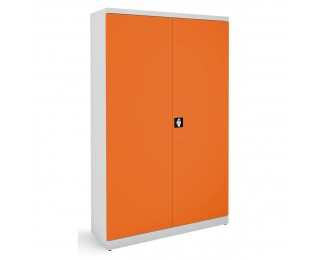 Kovová kancelárska skriňa s dvojkrídlovými dverami SB 1200 - svetlosivá / oranžová