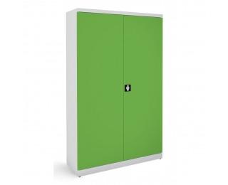 Kovová kancelárska skriňa s dvojkrídlovými dverami SB 1200 - svetlosivá / zelená