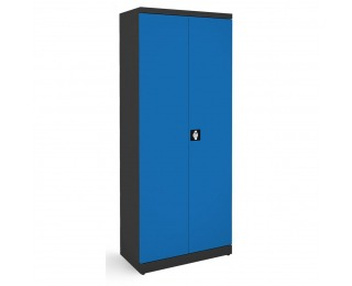 Kovová kancelárska skriňa s dvojkrídlovými dverami SB 800 - grafit / modrá