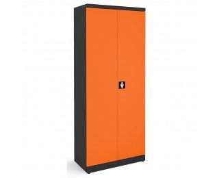 Kovová kancelárska skriňa s dvojkrídlovými dverami SB 800 - grafit / oranžová