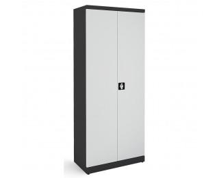 Kovová kancelárska skriňa s dvojkrídlovými dverami SB 800 - grafit / svetlosivá