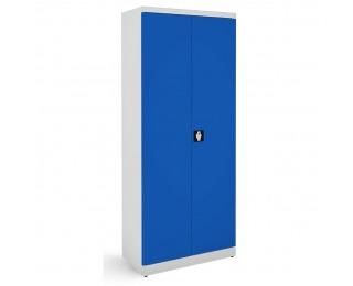 Kovová kancelárska skriňa s dvojkrídlovými dverami SB 800 - svetlosivá / modrá