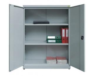 Nízka kancelárska skriňa s nastaviteľnými policami SBN800 - svetlosivá