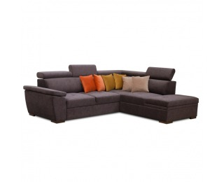 Rohová sedačka s rozkladom a úložným priestorom Seal P - tmavosivá / kombinácia farieb