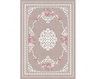 Koberec Sedef 80x150 cm - svetlohnedý / vzor kvety