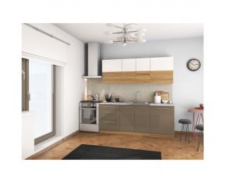 Kuchyňa Sergio 200 - biely lesk / svetlý orech / cobalt sivý lesk