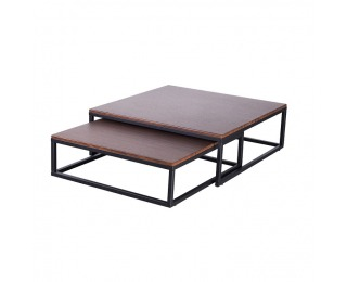 Kovový konferenčný stolík (2 ks) Sibel - orech / čierna