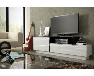 TV stolík Sigma 3A - biela / biely lesk / čierny lesk