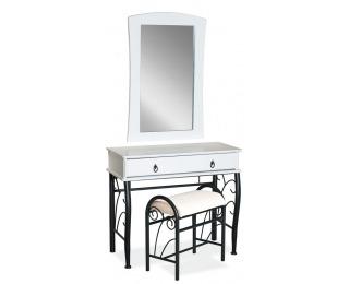 Rustikálny toaletný stolík so zrkadlom 1102 - biela / čierna