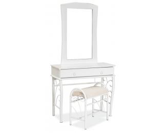 Rustikálny toaletný stolík so zrkadlom 1102 - biela