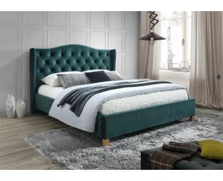 Čalúnená manželská posteľ s roštom Aspen Velvet 160 - zelená