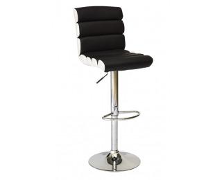 Barová stolička C-617 - čierna / biela / chróm