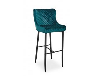 Barová stolička Colin B Velvet H-1 - zelená / čierna